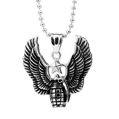 Ultimate Army Style Air Force Men's Stainless Steel Pendant Ball Chain Necklace.