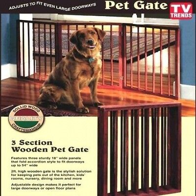 Folding Wood Pet Gate- 3 Sections. Shipping is Free