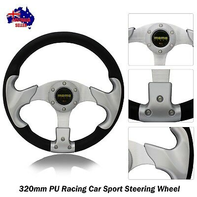 Silver Sport 320mm PU Steering Wheel with Horn Button