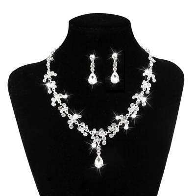 Diamante Wedding Bride Prom Crystal Rhinestone Necklace Earrings Jewelry Set