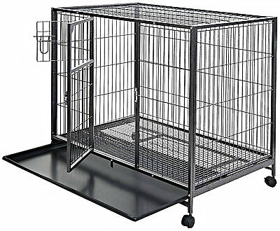 "Dog Kennel Crate Large 44"" Heavy Duty Metal Double Door Steel Pet Cage XL Size"