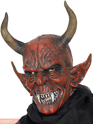 Mens Lord Devil Demon Mask + Horns Red Halloween Fancy Dress Costume Accessory