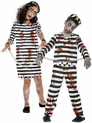 Childrens Zombie Convict Prisoner Costume Boys Halloween Fancy Dress Kids Outfit