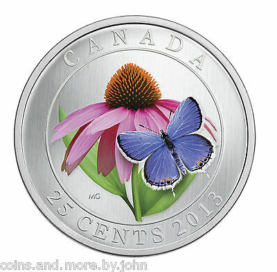 2013 Canada 25-cent color coin Purple Cornflower & Eastern Tailed Blue Butterfly