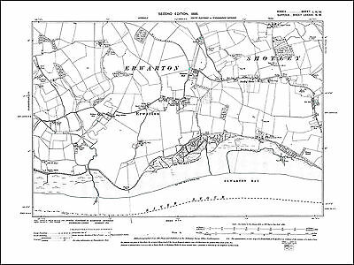 Langton Green Brome old map Suffolk 1905: 25SE repro Hoxne South Green