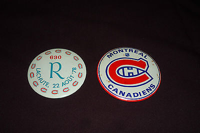 Lot of 2 Vintage Montreal Canadiens Pinback Buttons LACHUTE 1978