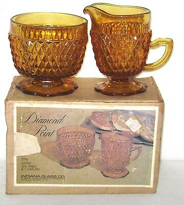c. 1966 Indiana Glass Co. Diamond Point Amber Cream Pitcher & Sugar Bowl + Box