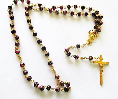 Beautiful Rosary with  Purple, Pink, Gold Beads, Golden Tone Metal