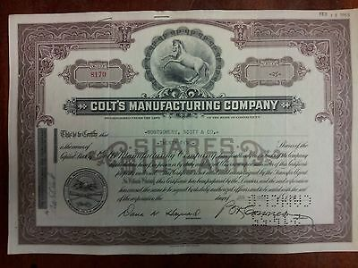 Colt's Manufacturing Company, collectable cancelled stock certificate