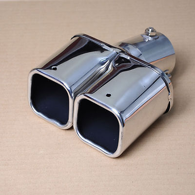 Exhaust Car Square Dual Slant Exhaust Tail Pipe Tip Silencer Inlet 46 - 62mm