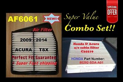 Combo Set Engine&Cabin Air Filter For ACURA TSX 09 10 11 12 13 14 4CYL Only