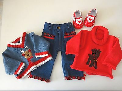 """NEW-DOLL CLOTHES: Pants/Sweaters/Shoes Set fit 18"""" Doll such as AG Doll-Lot #260"""