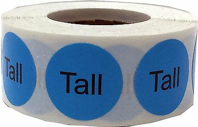 Blue with Black Tall Clothing Stickers, 3/4 Inch Round, 500 Total Labels