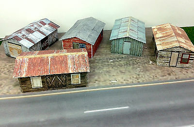 N Scale Buildings - (5) Weathered Sheds  Cardstock kit set