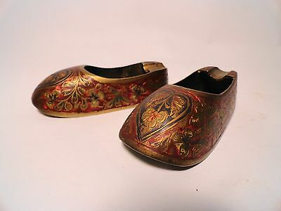 Pair of Vintage Heavy SOLID BRASS hand tooled Enameled Slipper Ashtrays