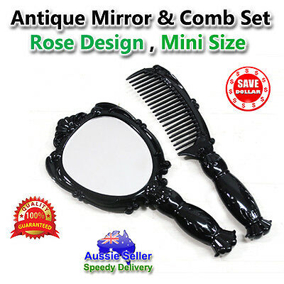 Retro Vintage Style Hand Held Mirror Comb set Black Women Ladies Makeup Cosmetic