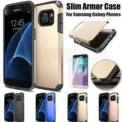 New Slim Armor Shockproof Hard Case Cover For Samsung Galaxy Phones + Protector