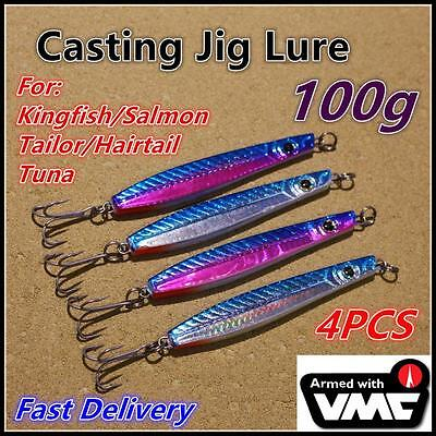 4X 100g Lead Casting Jig Slice Spoon Fishing Lures VMC Hook Tailor Salmon Bonito