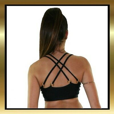 Black Spandex Double Lined Front Dance Crop Top with 4 Strap Detail to Back
