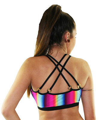 Rainbow Print Dance, Pole Dancing, Sports Crop Top with 4 Strap Back Detail