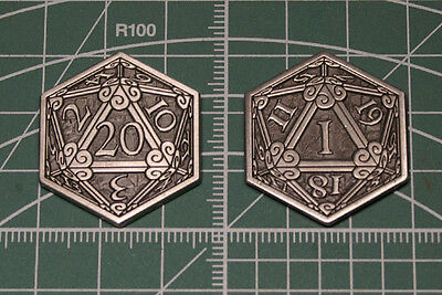 D&D Pass / Fail Coin Inspiration Token Silver D20 Metal Dice Dungeons & Dragons
