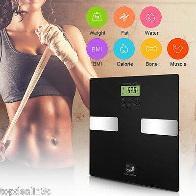400lb Touch LCD Digital Bathroom Body Fat Muscle BMI Scale Weight Tempered Glass