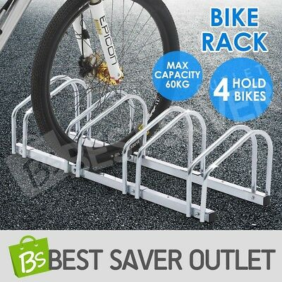 1 - 4 Bike Stand Wall Storage Bicycle Holder Floor Parking Rack Silver