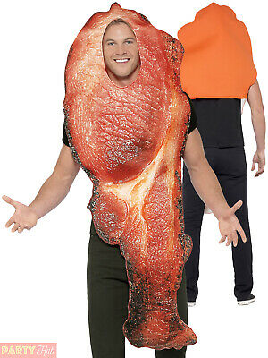 Adults Bacon Costume Mens Ladies Novelty Food Fancy Dress Stag Breakfast Outfit