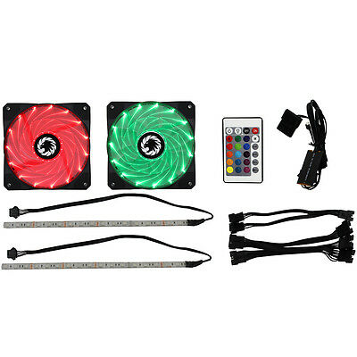Game Max Windforce 2 x 120mm LED RGB Cooling Fans with 2 x 200mm LED RGB Strips