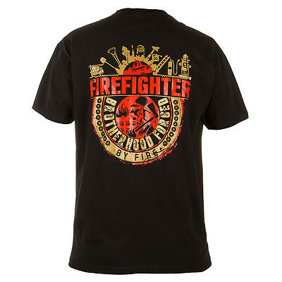 "Firefighter T-Shirt ""firefighter Brotherhood Forged By Fire"" Casual Wears Black"