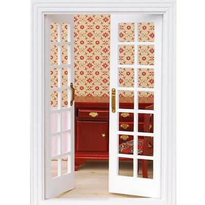 1/12 Dollhouse Miniature Exterior Wooden French Door - White