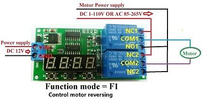 12V Digital Relay Cycle Delay Timer Timing Switch LED motor Reversible Control