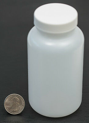8oz 240ml Wide Mouth HDPE Bottle Jar with White Polyethylene Lined Cap LOT OF 4