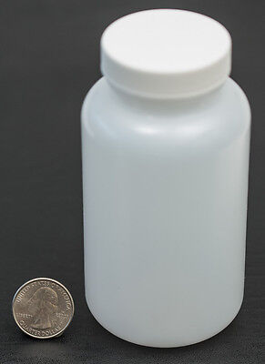 8oz 240ml Wide Mouth HDPE Bottle Jar with White Polyethylene Lined Cap LOT OF 6