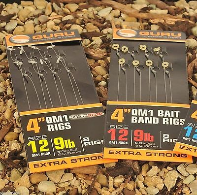 "Guru QM1 4"" Hair Rigs With Bait Bands or Speed Stops"