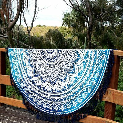 Indian Ombre Round Mandala Hippie Tapestry Beach Picnic Throw Towel Mat Blanket