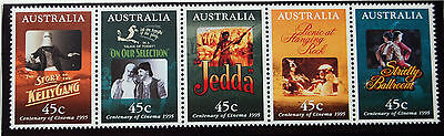 Australia Centenary Of Cinema Movie Posters 1995 Strip Of Five Stamps MNH