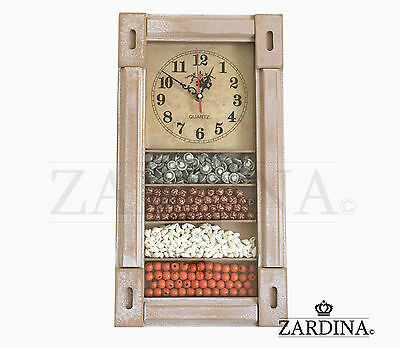 Faro - Vintage and Rustic Almond Wooden Wall Clock in Spanish Seaside Theme