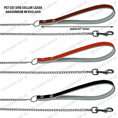 Pet Cat 1.6mm Thin Chain Collar Lead W/Leather Handle Strong Long Sizes UK Made
