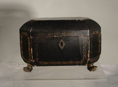 Antique Chinese Lacquered Tea Caddy Nice Claw Feet 19th Century Gilt Sewing Box