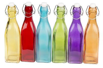 6 x COLOURED GLASS BOTTLE WITH SWING CLIP TOP SEAL FOR WATER OIL VINEGAR DISPLAY