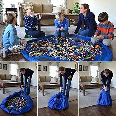 60 Inch Blue Large Portable Kids Children Infant Baby Play Mat Toys Storage Bags