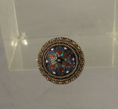 Antique Enameled Gilt Silver Marked 830 Russian Style Pin Brooch Hallmark