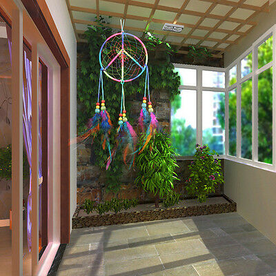 Handmade Dream Catcher Colorful Feather Wall Hanging Home Decaration Ornament #2