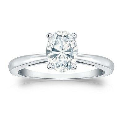 4 Ct Oval Solitaire Engagement Wedding Promise Ring Solid Real 14k White Gold