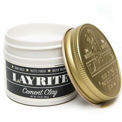 Layrite Cement Clay Heavy Firm Hold Barber Hair Pomade Gel High Pomp Mohawks