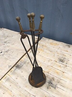 VTG Antique SOLID BRASS & IRON Fireplace Tool SET 4 - POKER SHOVEL TONGS STAND