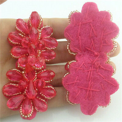 Hot Pink Teardrop Glass Patches Bead DIY Flower Decoration Handmade Applique New