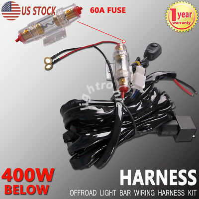 Wiring Harness Kit 12V 40A Switch Relay For One LED Work Light Bar Below 400W