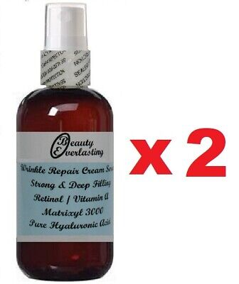 *3% Retinol/Vitamin A Cream Serum + Matrixyl 3000,Pure Hyaluronic Acid  2x1.2oz
